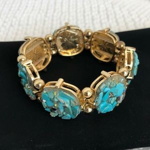 Fashion Stretch Bracelet gold tone with turquoise